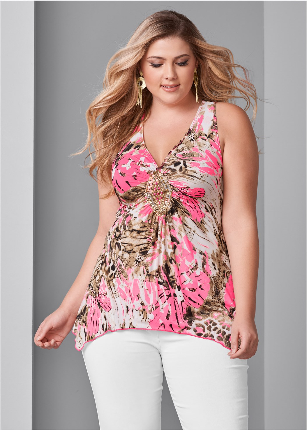 Embellished Print Top,Mid Rise Slimming Stretch Jeggings,Lace Bra Panty Set,High Heel Strappy Sandals
