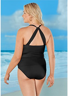 plus size smoothing v-back tankini