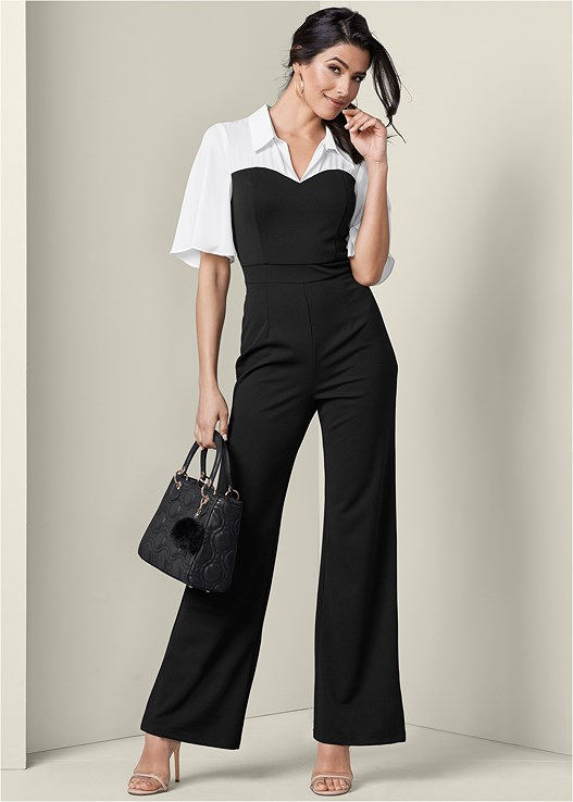 TWOFER JUMPSUIT,EVERYDAY YOU STRAPLESS BRA,LUCITE DETAIL HEELS,MIXED EARRING SET,STRUCTURED HANDBAG