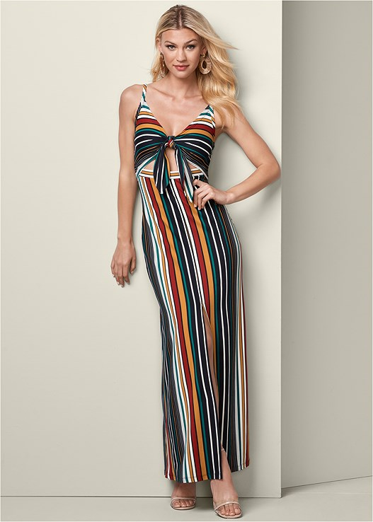 STRIPE MAXI DRESS,3 PK OF PETALS,JEAN JACKET,LUCITE DETAIL HEELS,MIXED EARRING SET,FRINGE CROSSBODY