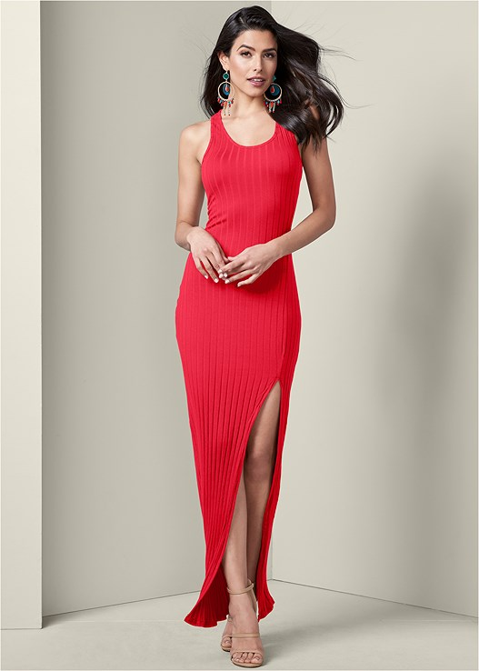 RIBBED MAXI DRESS,EVERYDAY YOU STRAPLESS BRA,HIGH HEEL STRAPPY SANDALS