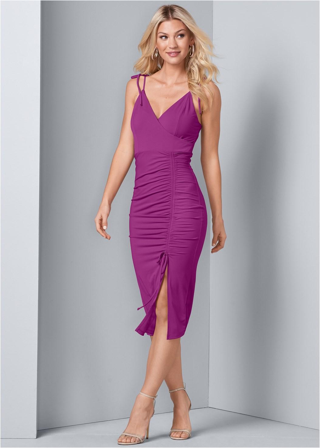 Ruched Detail Dress,Venus Cupid Bra,Lucite Detail Heels