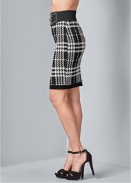 Back View Houndstooth Belted Skirt