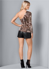 Back View One Shoulder Print Top