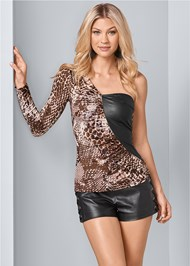 Front View One Shoulder Print Top