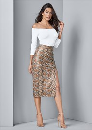 Front View Faux Leather Print Skirt