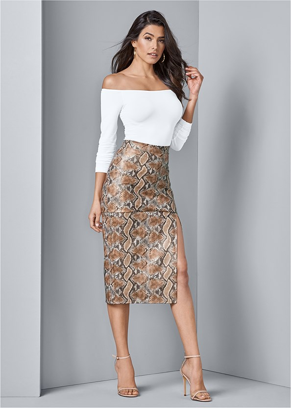 Faux Leather Print Skirt,Off The Shoulder Top,Lurex Bodysuit With Cups,Lucite Detail Heels
