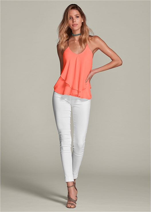 SLIMMING STRETCH JEGGINGS,RUFFLE DETAIL TANK