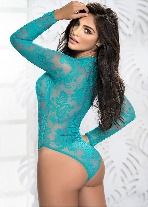 Back View Long Sleeve Lace Bodysuit