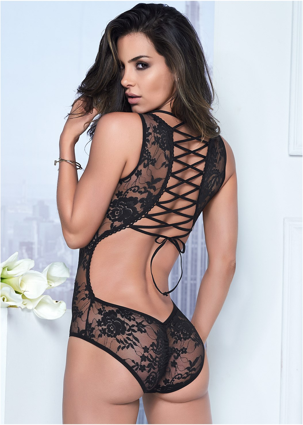 Sheer Lace-Up Bodysuit,Embellished Strappy Heel