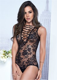 Front View Sheer Lace-Up Bodysuit