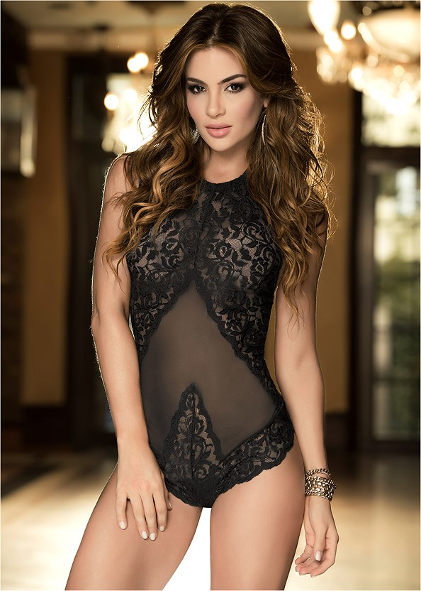 Sheer Lace Halter Teddy