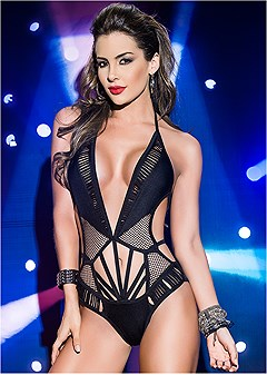 fishnet deep v bodysuit