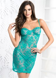 Front View Sheer Floral Lace Negligee