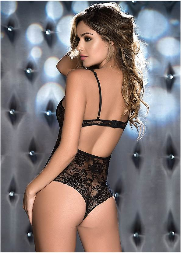 Back View Strappy Sheer Lace Bodysuit