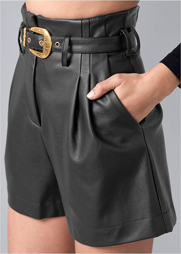 Alternate View Belted Faux Leather Shorts
