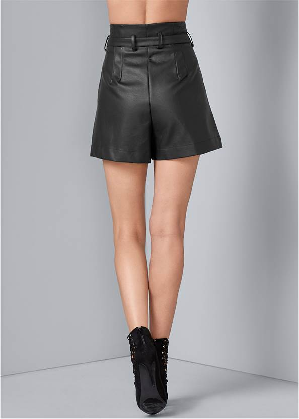 Back View Belted Faux Leather Shorts