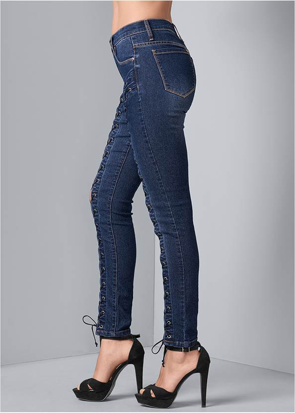 Back View Lace Up Skinny Jeans