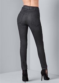 Back View Belted High Waist Jeans