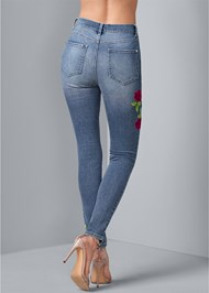 Back View Rose Embroidered Jeans