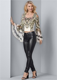Front View Embellished Bell Sleeve Top
