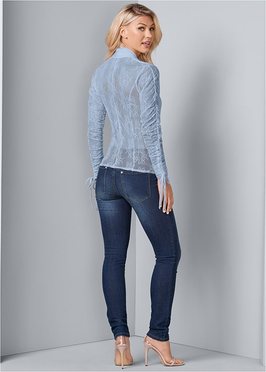 LACE DETAIL SURPLICE TOP,COLOR SKINNY JEANS,CUPID BACKLESS U PLUNGE BRA,LUCITE DETAIL HEELS