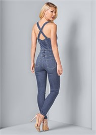 Back View Denim Overalls