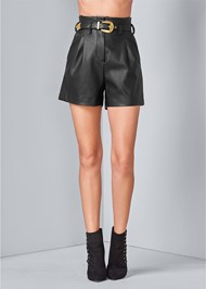 Front View Belted Faux Leather Shorts