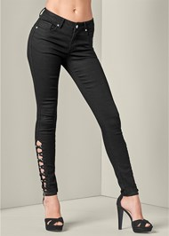 Front View Bum Lifter Lattice Jeans