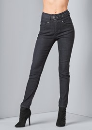Front View Belted High Waist Jeans