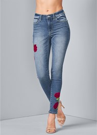 Front View Rose Embroidered Jeans