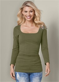 Cropped Front View Square Neck Top