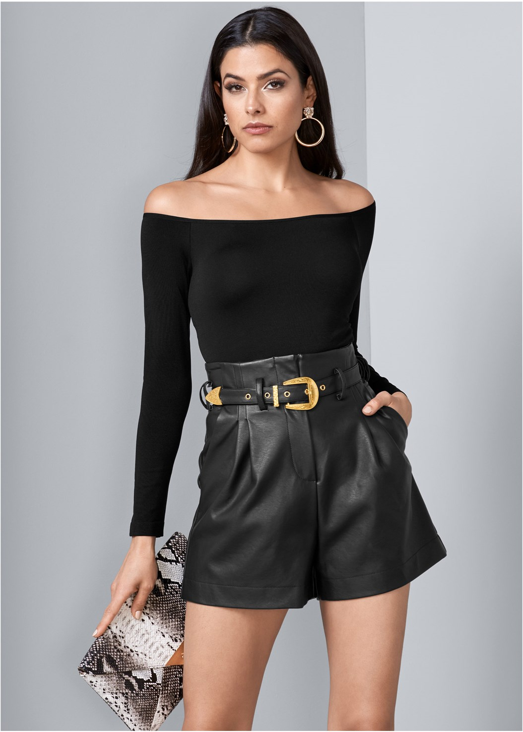 Belted Faux Leather Shorts,Off The Shoulder Top,Python Clutch,Steve Madden B Corina