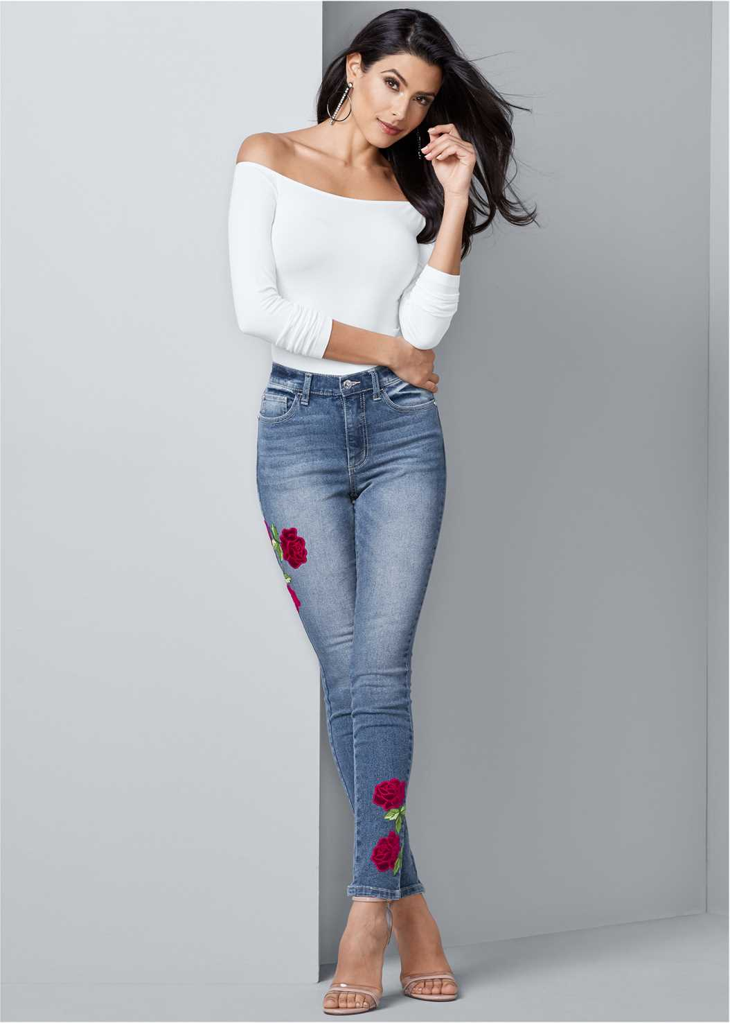 Rose Embroidered Jeans,Off The Shoulder Top,Lace Up Skinny Jeans
