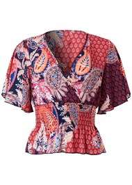 Alternate View Smocked Surplice Print Top