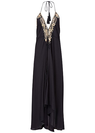 Plus Size Embellished Trim Maxi Dress
