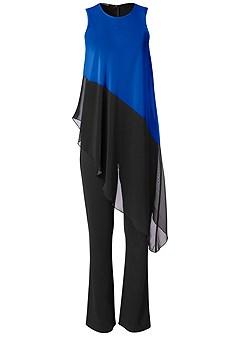 plus size chiffon overlay jumpsuit
