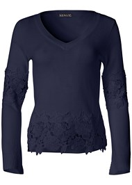 Alternate View Lace Detail Sweater