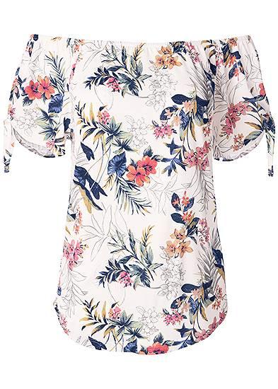 Plus Size Tie Detail Floral Top