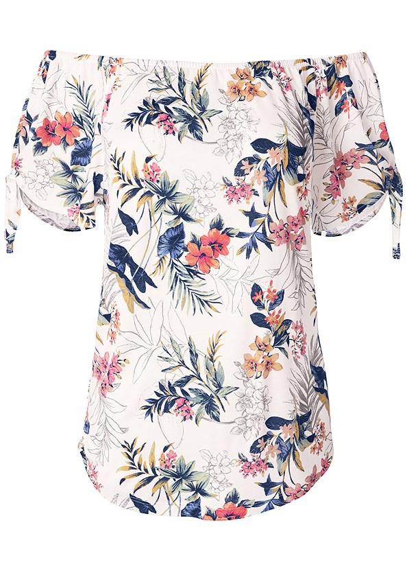 Tie Detail Floral Top,Color Capri Jeans