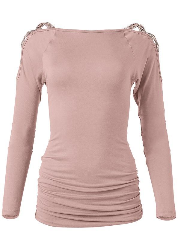 Embellished Shoulder Top,Mid Rise Color Skinny Jeans,Lucite Detail Heels