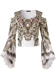 Alternate View Embellished Bell Sleeve Top