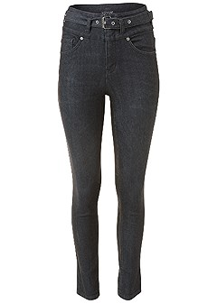 plus size belted high waist jeans