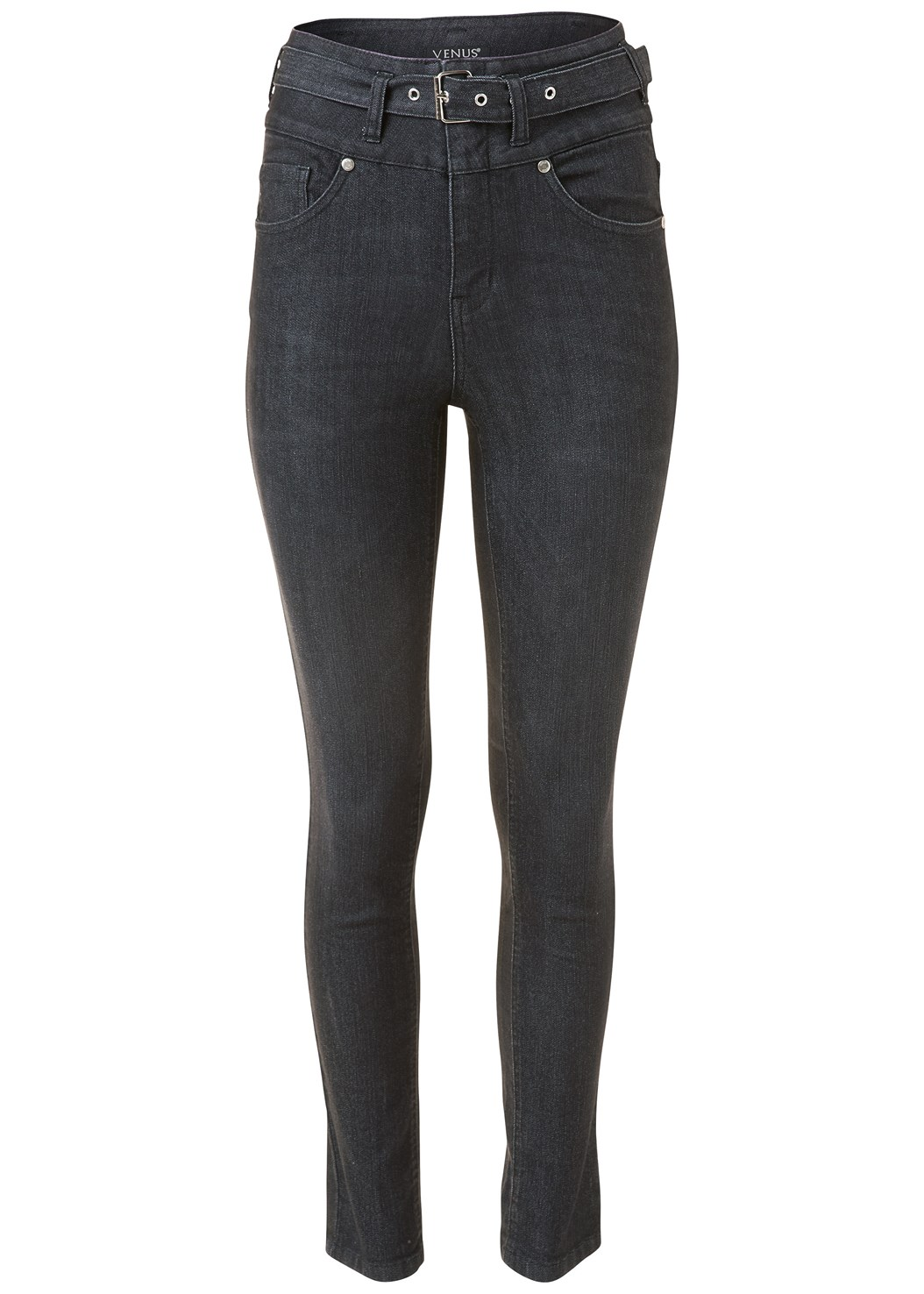 Belted High Waist Jeans,Buckle Detail Top,One Shoulder Bodysuit
