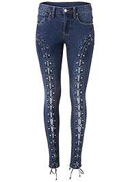 Alternate View Lace Up Skinny Jeans