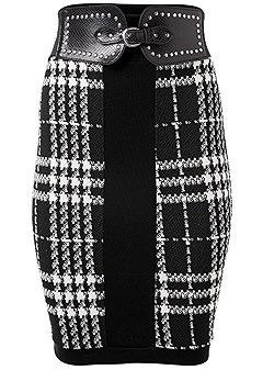 plus size houndstooth belted skirt