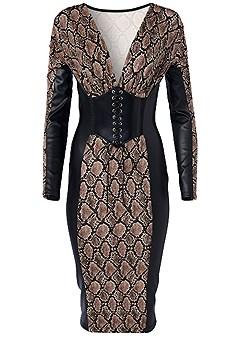 plus size faux leather detail dress