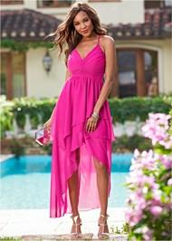 Front View Ruffle Detail Long Dress