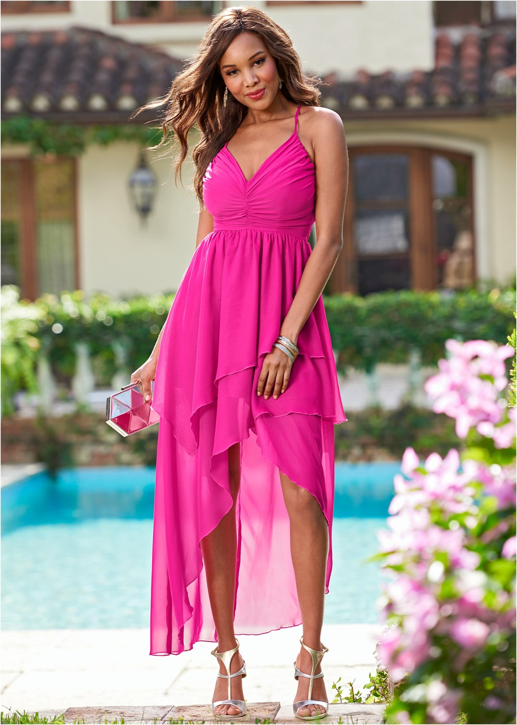 Ruffle Detail Long Dress,High Heel Strappy Sandals