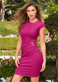 Front View Trim Detail Bodycon Dress